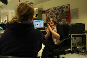Me last year talking to my editor from my desk.