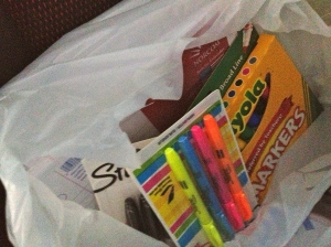 1 of four bags of supplies I bought for the classroom this year.