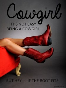 Cowgirl with red boots